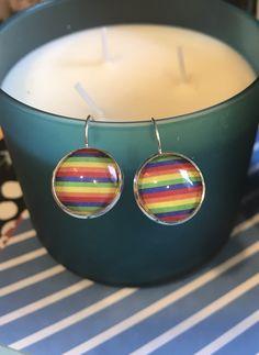 RainBow Pride cabochon earrings- 16mm by MamaPandasByShannon on Etsy
