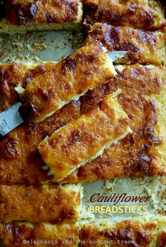 Cauliflower breadsticks---sounds interesting. Would use low fat or fat free cheese. I may have to try this one soon