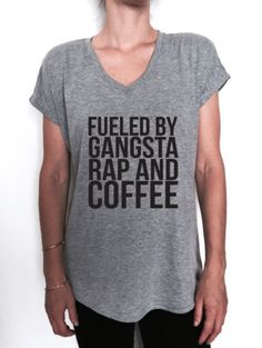 fueled-by-gangsta-rap-and-coffee-Vneck-tshirt-women-hipster-gym-workout-graphic