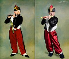 Children with down syndrome recreate  historic paintings.