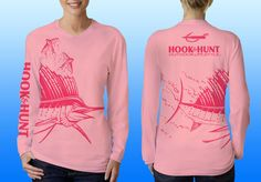 Our Ladies light pink sailfish wrap, UPF 40, moisture wicking performance shirt. Logo's on front, back and sleeve in hot pink. Made in the USA. Please like & share us on facebook. http://facebook.com/hookandhuntoutdoor