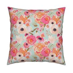 Catalan Throw Pillow featuring INDY BLOOM BLUSH Florals BLUE B by indybloomdesign | Roostery Home Decor