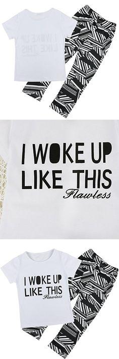 Iiniim Baby Girls Kids T-shirt Tops & Pants Leggnings 2pcs Outfits Set (12-18 Months)