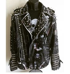 Rock N Roll studded, distressed jackets by Chad Cherry from ChadCherryClothing. Vampire Fashion, Punk Fashion, Spiked Leather Jacket, Punk Jackets, Biker Chic, Model Outfits, Punk Goth, Dressed To Kill, Diy Clothes