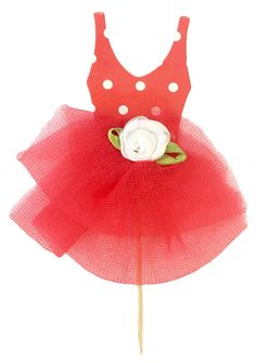 Hairbows Unlimited Tutu Dress Toothpick Cupcake Toppers (12 Pcs) (Red) ** More infor at the link of image @ : Baking tools