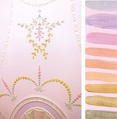 The Pink Room. Ceiling detail of painted stucco ceiling by Timna woollard Studio for Solange Azagury-Partridge's Mayfair Jewellery shop London, solange.co.uk