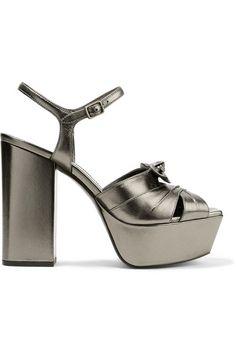 Saint Laurent   Farrah bow-embellished metallic leather platform sandals   NET-A-PORTER.COM