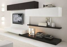 TV unit. I like the white & brown shelves. Would match my kitchen.