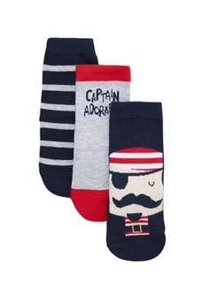 F&F 3 Pair Pack of Pirate Socks