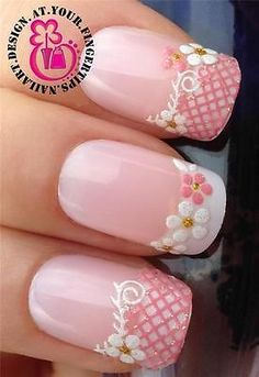 Pink French.. Flowers Nails ❤