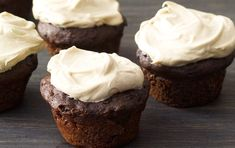 Greek yogurt and bananas make these cupcakes super moist. An easy two-ingredient frosting adds amazing richness.  Prep Time : 18 min Cook Time : 13 min Serves : 24 Difficulty : Easy  Ingredients :  3⁄4 cup(s) all-purpose flour 1⁄3 cup(s) unsweetened cocoa