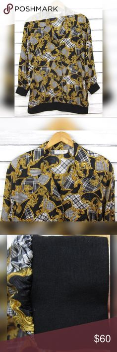"90s Silky Gold Swirl Baroque Print Royalty Jacket Vintage 90s silky baroque royalty print bomber jacket by La Chine Plus by Galinda Wang. Features a bold black and white houndstooth & plaid pattern, accented with gold swirls! Black knit cuffs and bottom, button front closure, buttons are accented with rhinestones. Collared fit, mild padding in the shoulders. No pockets, unlined. 100% Polyester, made in the Philippines.   Tagged size ""16W,"" please reference all supplied measurements to…"