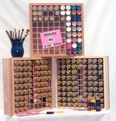 Paint Racks, two ounce Paint bottle organizer! Organizes all your 2 oz. paint bottles and keeps them in easy reach. Perfect for the decorative painter, Tole Painter or Crafter. E-Z Wire Kurl Tools for Crafters and Tole Painters. Acrylic Paint Storage, Craft Paint Storage, Paint Organization, Arts And Crafts Storage, Art Storage, Storage Ideas, Organization Ideas, Organizing, Bottle Painting