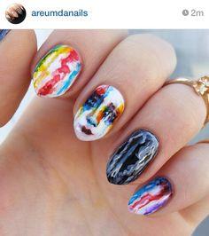 Lady gaga watercolor rainbow drip nails