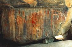 """Family pictograph panel at Painted Rock. From left to right is the """"baby"""" Hairy Man, """"mother"""" Hairy Man, and """"father"""" Hairy Man."""