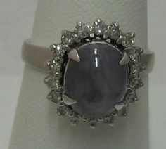 Vintage Gray Star Sapphire .72cts tw Diamond 18K White Gold Cocktail Ring