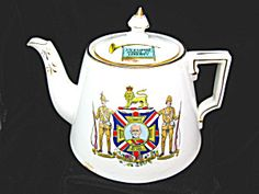 c.1900 RARE BOER WAR TEAPOT.  The front shows a representation of a Victoria Cross medal with an image of Lord Roberts (Commander-in-Chief of the British  Supported by the Empire - Colonies - Volunteers . The reverse is decorated with a laurel wreath topped by the Queen's crown, inside of which is a list of the British commanders  Roberts - Buller - Kitchener - White - Baden Powell - French . There is a light surface hairline under the base which does not show inside a couple small areas of ...