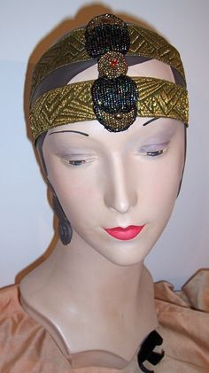 Fabulous Deco Beaded Scarab Headband Headpiece Millinery
