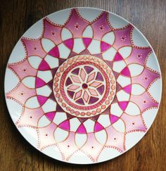 Pretty in Pink and Pearls Hand Painted Mandala Plate by tindink, $45.00