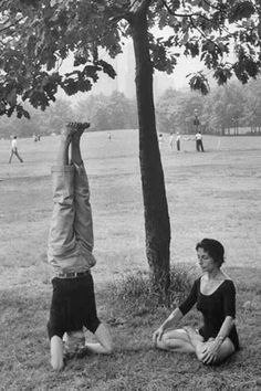 1961, A couple practicing yoga in Central Park, New York, USA   (vintage yoga…
