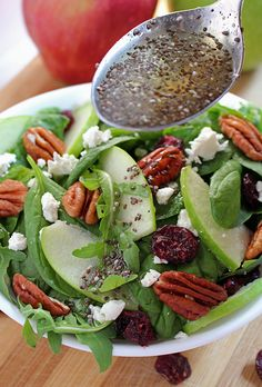 Today on the menu is a healthy food - Cranberry Pecan Spinach Salad recipe rich with apples & cheese. A delightful blend of different flavors in one bowl..