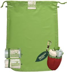 The Produce Stand Complete Starter Kit is a great alternative to single-use disposable produce bags and makes it easy to remember your reusable produce bags every time you shop! Includes three reusable produce bags, each made of a different fabric that stuff into an adorable apple pouch. $16.99 www.chicobag.com