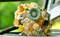 Brooch bouquet- yellow and blue