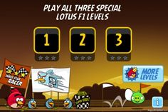 Angry Birds Lotus F1 Team Level Selection Screen - AngryBirdSpot.com