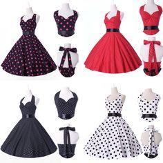 Jive Polka dot Swing 1950s Housewife pinup Vintage Rockabilly Retro Cotton Dress