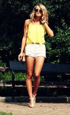 White shorts,yellow blouse summer essentials