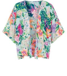 New Look Green Neon Tropical Print Crepe Kimono €25