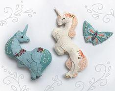 2020 Funny 6 Feet Christmas Quarantined 2020 Christmas | Etsy Unicorn Ornaments, Felt Ornaments, Christmas Ornaments, Christmas Tree, Animal Sewing Patterns, Craft Patterns, Unicorns, Pattern Cute, Folk Art Flowers