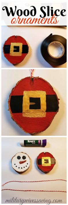 How to make DIY Wood Slice ornaments for the holidays! So cute to hang on your Christmas tree! Add this to your crafts board!