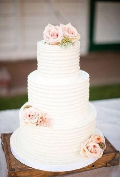 Wedding Cakes with Flowers: Three-Tiered White Wedding Cake with Pink Roses