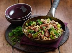 Did you have pork for your Sunday roast? Use up those leftovers in this pork and ginger noodle stir fry.