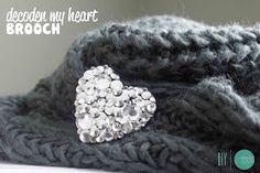 DIY Studded Crystal Heart Brooch @ mintedstrawberry.blogspot.com