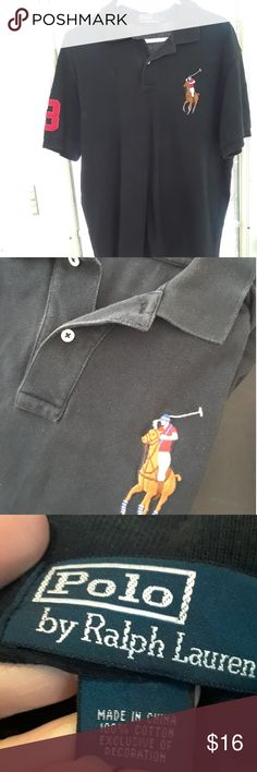 Polo by Ralph Lauren BIG horse S/S Polo Shirt sz L Black cotton pique polo shirt featuring BIG polo horse on front. Excellent condition. Polo by Ralph Lauren Shirts Polos