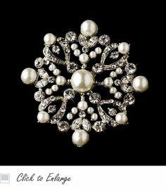 Silver & Pearl Snowflake Bridal Brooch