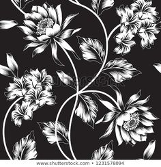 Find seamless black flower pattern Stock Vectors and millions of other royalty-free stock photos, illustrations, and vectors in the Shutterstock collection. Thousands of new, high-quality images added every day. Line Art Flowers, Flower Art, Textile Patterns, Flower Patterns, Surface Pattern, Royalty Free Photos, Wallpaper Backgrounds, Digital Prints, Pattern Design