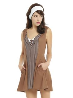 "<div>Be the lord of time in this dress from Doctor Who. This Tenth Doctor cosplay dress has a V-neck and fit and flare silhouette. The dress is made to look like David Tennant's incarnation of the Doctor with a printed tie, pinstriped ""suit"" front panel and brown ""overcoat"" complete with a fold-over lapel and collar. </div><div><ul><li style=""LIST-STYLE-POSITION: outside !important; LIST-STYLE-TYPE: disc !important&quo..."