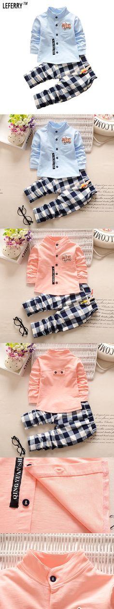 Kids Clothes Boys Clothing set 2pcs Cotton Shirt + Plaid Pants Toddler Boys Clothing Children Suits Baby Boy Clothes Set 2016 $23.51