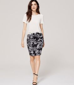 Primary Image of Painterly Floral Pencil Skirt