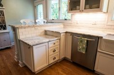 Transitional Kitchen by Renovations Group Inc, Sea Salt on the walls...so pretty