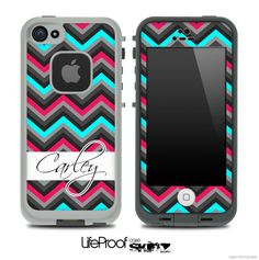 Name Script Turquoise and Pink Chevron V4 Skin for the iPhone 5 or 4/4s LifeProof Case FOR ME!