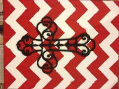 Chevron canvas with wooden cross. - so doing this!