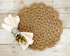 Jute Placemats - free crochet pattern with chart by Kara Gunza at Petals to Picots.