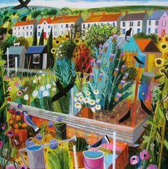 'Allotment Corner' By Artist Mary Sumner.  Blank Art Cards By Green Pebble. www.greenpebble.co.uk