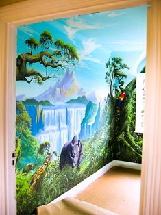 Jungle mural seen through the doorway into the bedroom, before new carpet was fitted.
