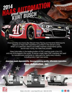 2014 Haas Automation - proud sponsor of KURT BUSCH - NASCAR Illustrated May 2014