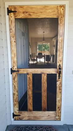 As seen on Pinterest. Rustic hand made wooden outside screen door. hardware included. by PalletElegance on Etsy https://www.etsy.com/listing/523856299/as-seen-on-pinterest-rustic-hand-made